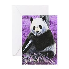 Funky lilac Panda Greeting Cards