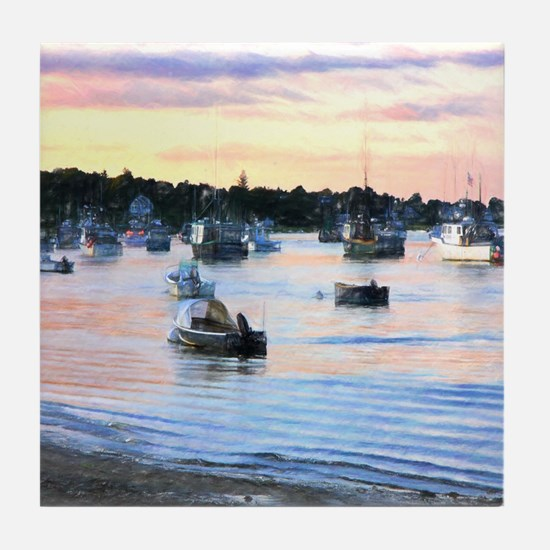 Lobster Boats At Twilight In Cape Cod Tile Coaster
