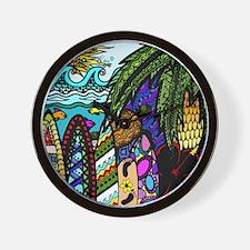 Hawaiian Ink- Colour Wall Clock
