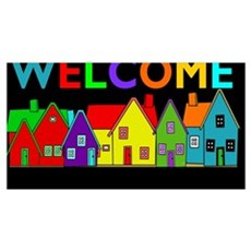 Multicolored houses with colorful welcome on black Poster