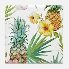 Cute Hawaiian flowers Tile Coaster