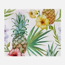 Funny Hawaiian flowers Throw Blanket