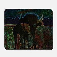 American Bison in Neon Mousepad