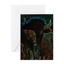 American Bison in Neon Greeting Cards