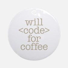 Code For Coffee Round Ornament