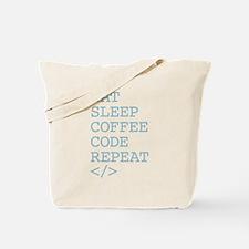 Coffee Code Repeat Tote Bag