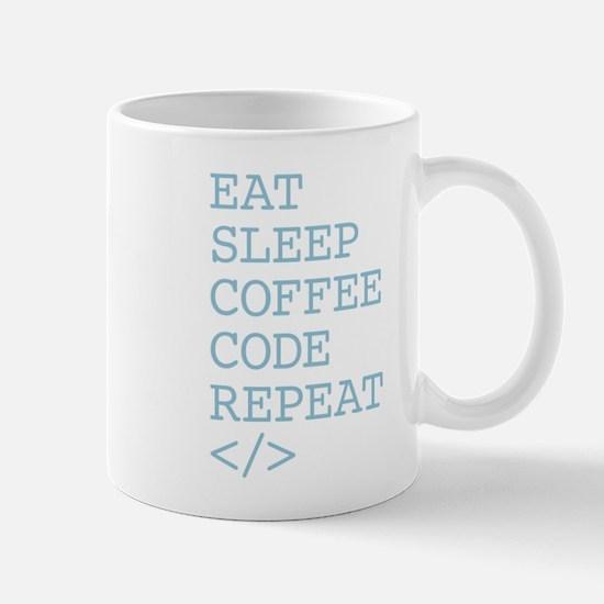 Coffee Code Repeat Mugs