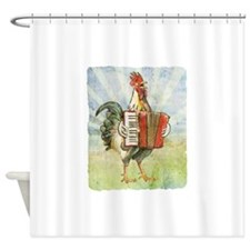 Accordian chick with back.png Shower Curtain