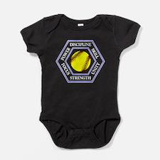 SOFTBALL HEXAGON Baby Bodysuit