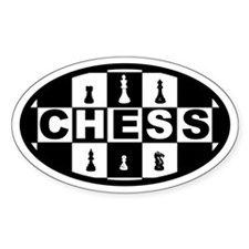 Chess Board and Pieces Oval Decal