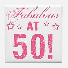 Fabulous 50th Birthday Tile Coaster