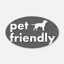 pet friendly art illustration Oval Car Magnet