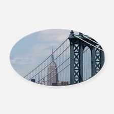 Empire State Building Manhattan Br Oval Car Magnet