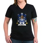 Lepine Family Crest  Women's V-Neck Dark T-Shirt