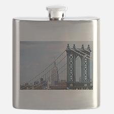 Empire State Building Manhattan Bridge NYC Flask