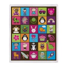 Cute Cartoons Patchwork Throw Blanket (2-sided)