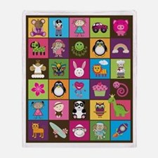 Cute Cartoons Patchwork Throw Blanket (2-sided)