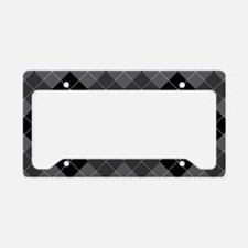 Black Gray Argyle License Plate Holder