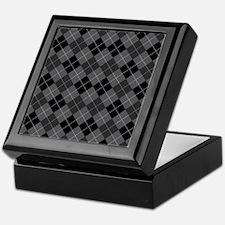 Black Gray Argyle Keepsake Box