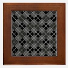 Black Gray Argyle Framed Tile