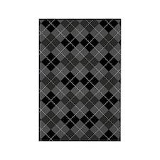 Black Gray Argyle Rectangle Magnet