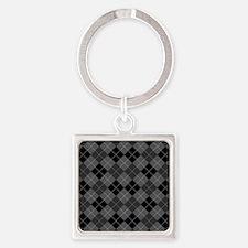 Black Gray Argyle Square Keychain