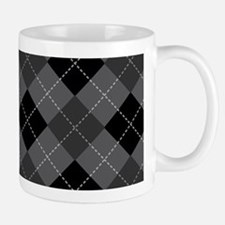 Black Gray Argyle Mug