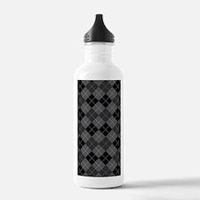 Black Gray Argyle Water Bottle