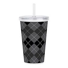 Black Gray Argyle Acrylic Double-wall Tumbler