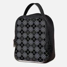 Black Gray Argyle Neoprene Lunch Bag