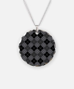 Black Gray Argyle Necklace