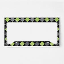 Green Charcoal Argyle License Plate Holder