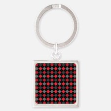 Red Charcoal Argyle Square Keychain