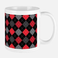 Red Charcoal Argyle Mug