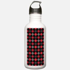 Red Charcoal Argyle Water Bottle