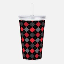 Red Charcoal Argyle Acrylic Double-wall Tumbler