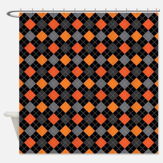 Pumpkin Charcoal Argyle Shower Curtain