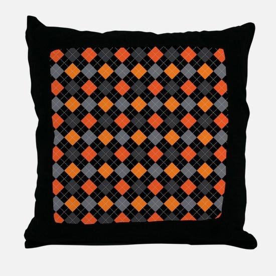 Pumpkin Charcoal Argyle Throw Pillow