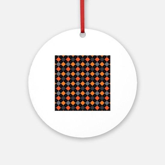 Pumpkin Charcoal Argyle Ornament (Round)