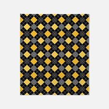 Yellow Charcoal Argyle Throw Blanket