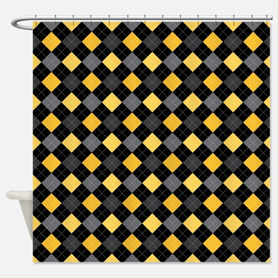 Yellow Charcoal Argyle Shower Curtain