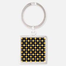 Yellow Charcoal Argyle Square Keychain