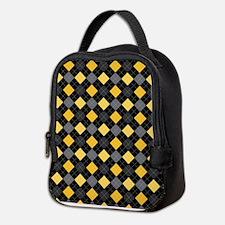 Yellow Charcoal Argyle Neoprene Lunch Bag