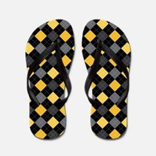Yellow Charcoal Argyle Flip Flops
