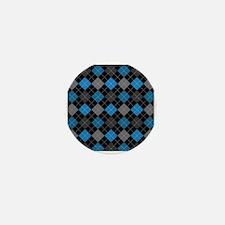 Blue Charcoal Argyle Mini Button