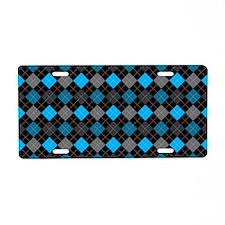 Blue Charcoal Argyle Aluminum License Plate