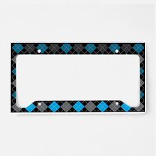 Blue Charcoal Argyle License Plate Holder