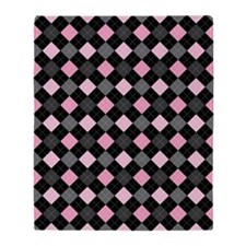 Pink Charcoal Argyle Throw Blanket