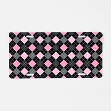 Pink Charcoal Argyle Aluminum License Plate