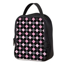 Pink Charcoal Argyle Neoprene Lunch Bag